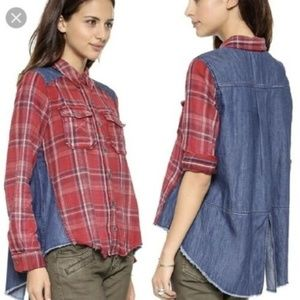 Free People Road Trip Flannel chambray Button top
